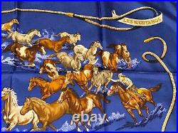 Auth HERMES Vintage Silk Scarf LES MUSTANGS By ROBERT DALLET Navy blue #2053