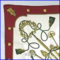 HERMES Scarf Les Cles Carre 90 Key Motif Bordeaux Silk Shawl Authentic Vintage
