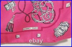HERMES Scarf Les Cles Carre 90 Key Motif Pink Silk Shawl Authentic Vintage 90cm