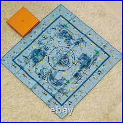 HERMES Scarf Stole Carre 70 EX-LIBRIS LES PARISIELU Silk Blue Vintage From Japan
