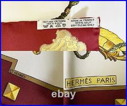 Hermes Brand New Vintage Burgundy Ivory Les Cles Les Scarf