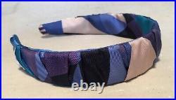 Hermes Handmade Blue Les Facèties de Pègase Silk Scarf Ruched Headband