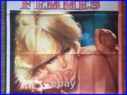 Les Femmes Original Vintage Movie Poster Novak Sexy French Women Pin-up Huge