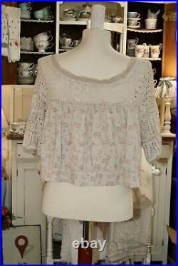 Les Ours Bluse Oberteil Vintage Neu Einheitsgröße Spitze Jacke