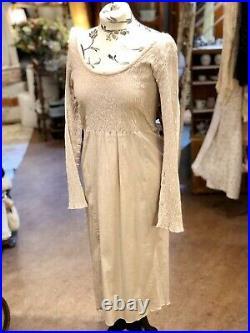 Les Ours Kleid Gr. XL Vintage Shabby Nude Spitze Langärmlig