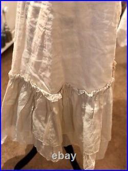 Les Ours Kleid Neu Gr. S Vintage Lang Sommer Rosé Träger Spitze