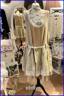 Les Ours Kleid Winter Velour Organza Rüschen Spitze Rose Neu Gr. S Vintage
