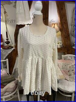 Les Ours Tunika Bluse Oberteil Neu Weiß Punkte Spitze Gr. S Vintage Rarität