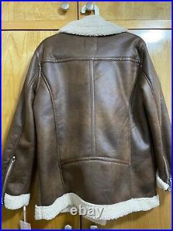 NWT Avec Les Filles Sherpa Biker Jacket (Vintage Whiskey) Size M