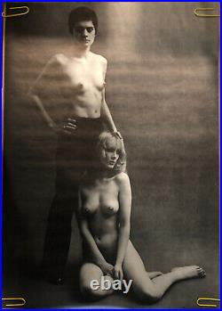 Original Vintage Poster Les Girls Naked Girl Pin Up Sexy Woman Black And White