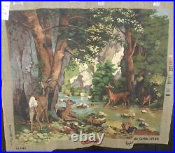 ROYAL PARIS Les Biches New Vintage Needlepoint Tapestry Canvas 25x31 France
