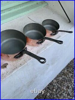 Set Of 5 Beautiful Vintage French Copper Saucepans Les Cuivres De Faucogney New
