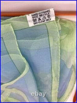 VINTAGE HERMES blue green silk scarf Les Pivoines by Christiane Vauzelles 1978