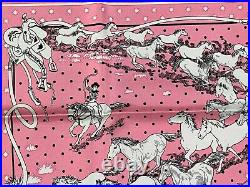 VTG Auth HERMES Silk Scarf LES MUSTANGSPink ROBERT DALLET 55x55 Box #2024