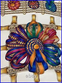 Vintage 1993 Hermes Silk Scarf Les Rubans Du Cheval By Joachim Metz 35 x 35