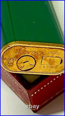 Vintage Les Must De Cartier Lacquer Green Gold Plated Lighter Enamel Mib & Box