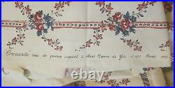 Vintage RARE French Fabric Les Olivades Floral Stripe 3YD