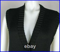 Vintage Trend Les Copains Black Wool Sweater Dress Duster Jacket Sz 44 NWT