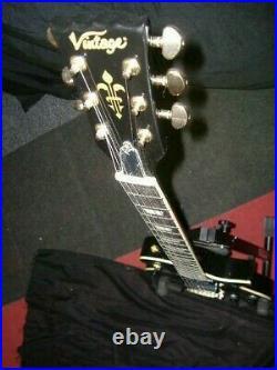 Vintage V100p Black Gloss 2 X P90 Les Paul With Gold H/w Guitar £299+free Pnp