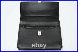 Vintage VALENTINO Les Sacs Black Grained Leather Combination Lock Briefcase NEW