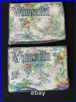 Vintage Wamsutta D. Porthault Les Fleurs Floral Twin Flat & Fitted Sheet Set NEW